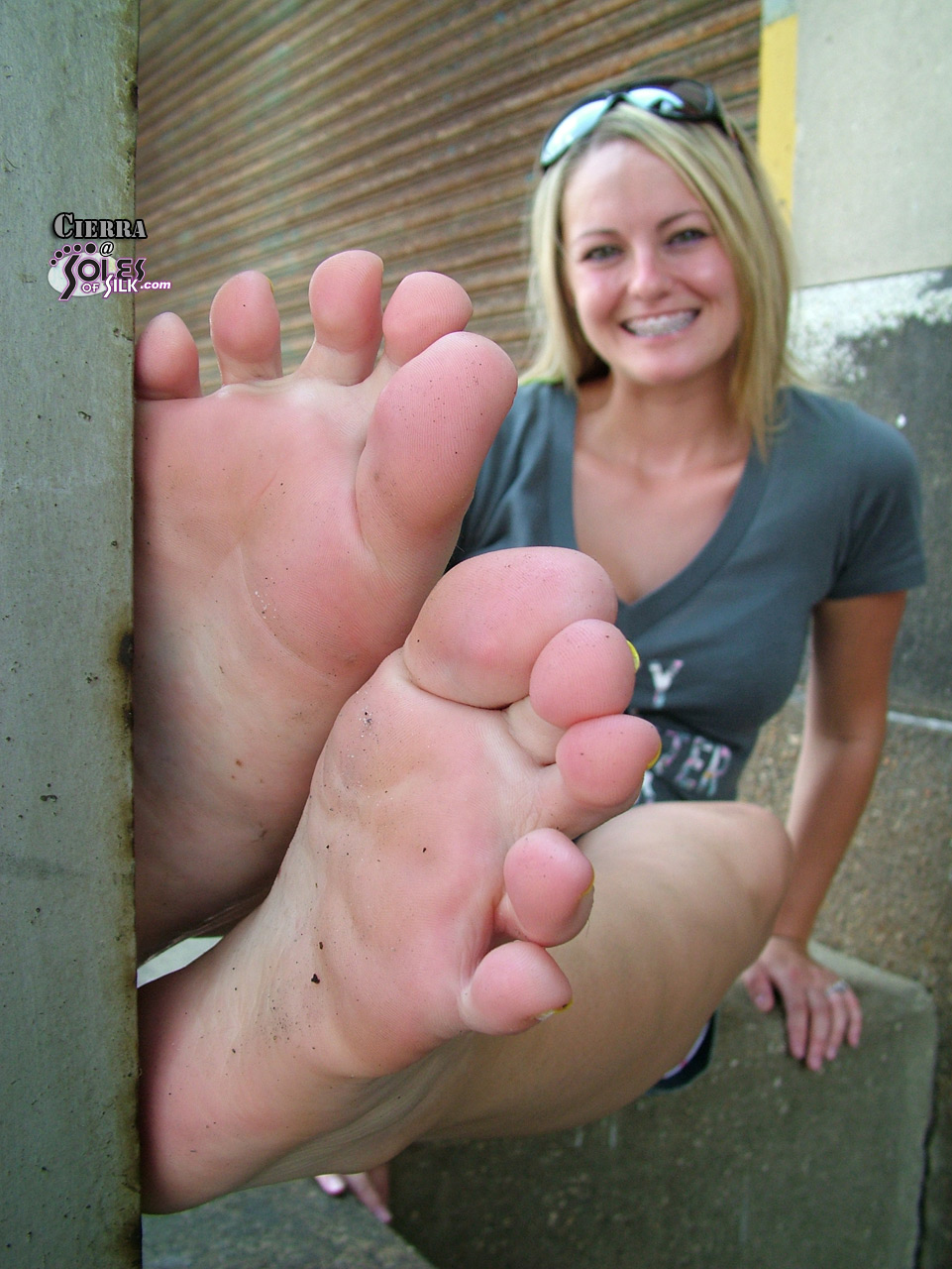 image Cute girls smelly socks and feet after a day out joi